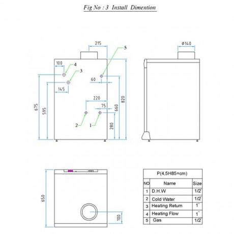 ابعاد نصب سری p پکیج زمنی شوفاژکار
