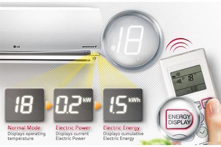 نمایشگر میزان مصرف برق کولر گازی 24000 نکست پلاس 2 ال جی